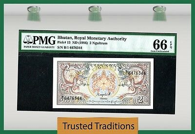 "Tt Pk 13 1986 Bhutan 2 Ngultrum ""Dragons"" Pmg 66 Epq Gem Unc Seq Serial # 2 Of 2"