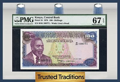 Tt Pk 18 1978 Kenya 100 Shillings Pmg 67 Epq Superb Gem Pop One None Finer