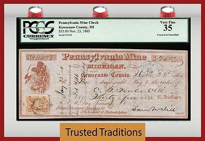 """Tt Pa $35 Mine Check Keweenaw County What In The """"sam Hill"""" Is Going On! Pcgs 35"""