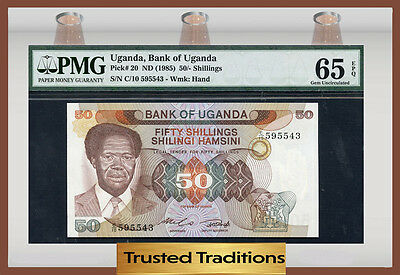 Tt Pk 20 1985 Uganda 50/- Shillings Pmg 65 Epq Gem Pop One Finest Known!