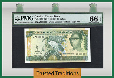 TT PK 13b 1991-95 GAMBIA 10 DALASIS PMG 66 EPQ GEM UNCIRCULATED POP 1 NONE FINER