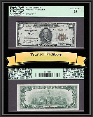 Tt Fr 1890-K 1929 $100 Frbn Dallas, Tx Brown Seal Pcgs 55 Choice About New