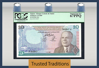 TT PK 65a 1969 TUNISIA 10 DINARS PCGS 67 PPQ SUPERB GEM NEW FINEST KNOWN