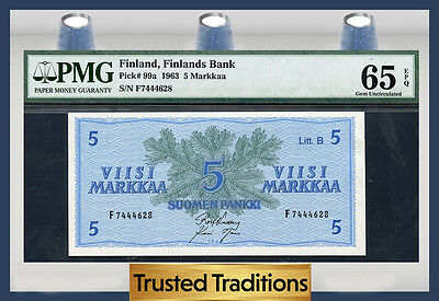 TT PK 99a 1963 FINLAND 5 MARKKAA PMG 65 EPQ GEM POP ONE FINEST KNOWN!