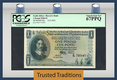 TT PK 92c 1950-51 SOUTH AFRICA 1 POUND PCGS 67 PPQ GEM NEW POP ONE!