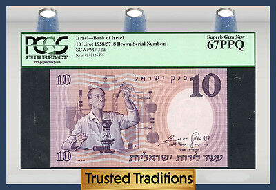 TT PK 32d 1958 ISRAEL BANK OF ISRAEL 10 LIROT PCGS 67 PPQ SUPERB GEM NEW!