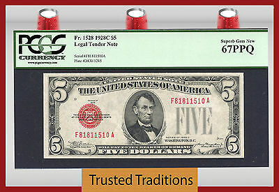 Tt Fr 1528 1928C $5 Legal Tender Red Seal Pcgs 67 Ppq Superb Gem New!