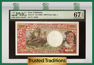 Tt Pk 61 1969 New Caledonia 1,000 Francs Pmg 67 Epq Superb Gem Unc!