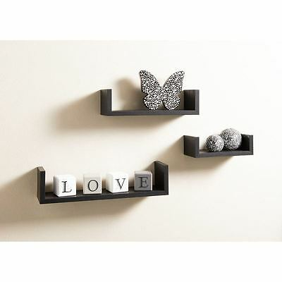 Set of 3 U Shape Floating Wall Shelves Storage Display Shelf, Contemporary Black