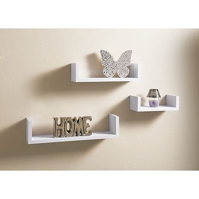 Set of 3 U Shape Floating Wall Shelves Storage Display Shelf, Contemporary White