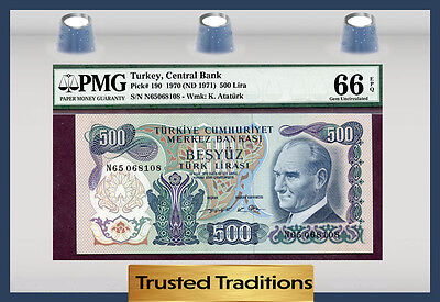 Tt Pk 190 1970 Turkey 500 Lira Pmg 66 Epq Gem Pop Three None Finer!
