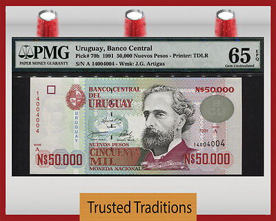 TT PK 70b 1991 URUGUAY 50000 NUEVO PESOS PMG 65 EPQ GEM UNC POPULATION OF TWO!