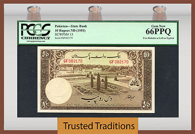 Tt Pk 13 1951 Pakistan State Bank 10 Rupees Pcgs 66 Ppq Gem New Top Pop!