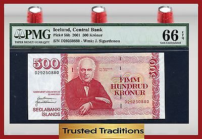 TT PK 58b 2001 ICELAND 500 KRONUR PMG 66 EPQ GEM UNCIRCULATED POP ONE