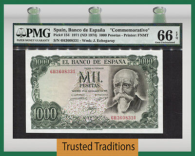 Tt Pk 154 1971 Spain 1000 Pesetas J. Echegaray Pmg 66 Epq Gem Uncirculated!