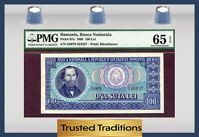 TT PK 97a 1966 ROMANIA 100 LEI PMG 65 EPQ GEM UNCIRCULATED POP ONE!