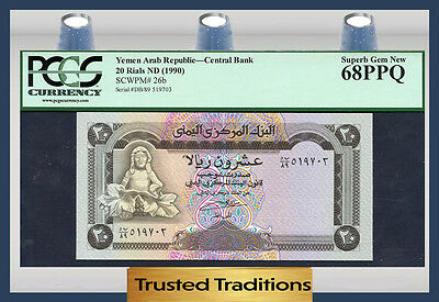 TT PK 26b 1990 YEMEN ARAB REPUBLIC 20 RIALS PCGS 68 PPQ POP 1 FINEST KNOWN!