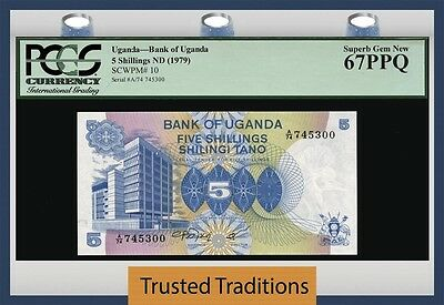 Tt Pk 10 1979 Uganda 5 Shillings Pgcs 67 Ppq Superb Gem New Population Of One