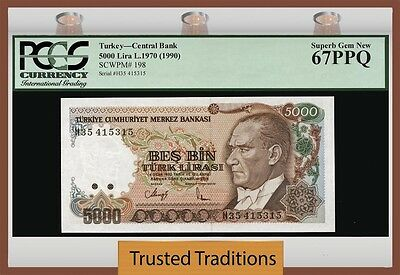 Tt Pk 198 1970 Turkey 5000 Lira Central Bank Pcgs 67 Ppq Superb Gem Finest Known