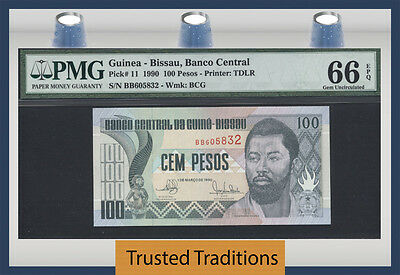 Tt Pk 11 1990 Guinea-Bissau 100 Pesos Pmg 66 Epq Gem Uncirculated Only One Finer