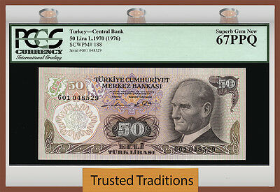 Tt Pk 188 1970 Turkey 50 Lira Pcgs 67 Ppq Superb Gem New None Graded Finer
