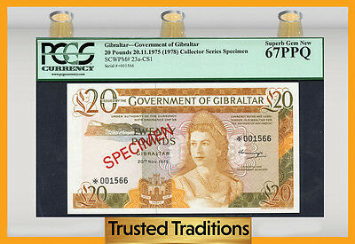 "TT PK 23a-CS1 1975 GIBRALTAR 20 POUNDS ""QUEEN ELIZABETH II"" PCGS 67 PPQ SUPERB"