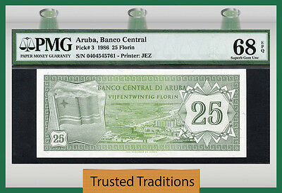 Tt Pk 3 Aruba 1986 25 Florin Pmg 68 Epq Superb Gem Uncirculated Finest Known
