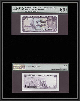 TT PK 4g* 1971-87 GAMBIA 1 DALASI STAR PMG 66 EPQ GEM UNCIRCULATED NONE FINER