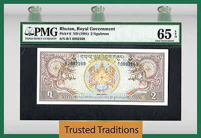 "Tt Pk 6 1981 Bhutan 2 Ngultrum ""dragons"" Pmg 65 Epq Pop One"