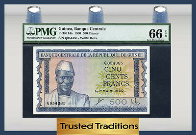 TT PK 14a 1960 GUINEA 500 FRANCS PMG 66 EPQ TODAY ONLY ONE FINER AND A JOY 2 SEE