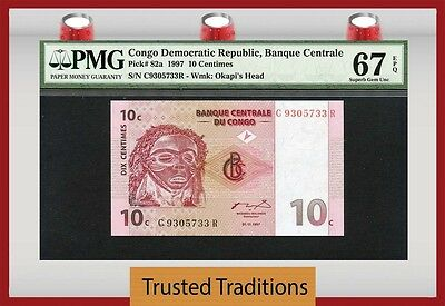 TT PK 82a 1997 CONGO DEMOCRATIC REPUBLIC 10 CENTIMES PMG 67 EPQ POPULATION ONE