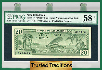 Tt Pk 49 1944 New Caledonia 20 Francs Pmg 58 Epq Choice About Uncirculated
