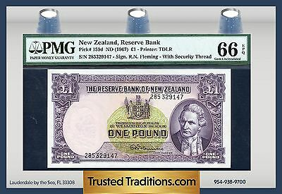 TT PK 159d 1967 NEW ZEALAND 1 POUND PMG 66 EPQ GEM NONE FINER!