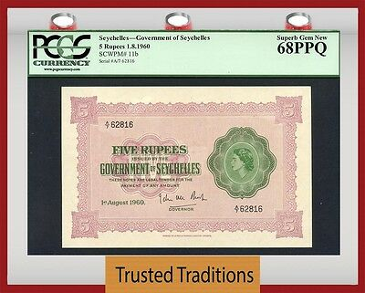 TT  PK 11b 1960 SEYCHELLES 5 RUPEES PCGS 68 PPQ SUPERB GEM NEW NONE FINER!!!