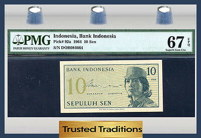 TT PK 92a 1964 INDONESIA 10 SEN PMG 67 EPQ SUPERB GEM UNCIRCULATED NONE FINER