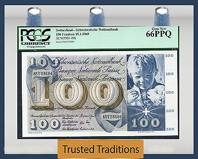 TT PK 49k 1969 SWITZERLAND 100 FRANKEN PCGS 66 PPQ GEM NEW NONE FINER!