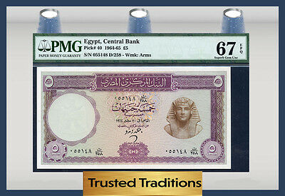 Tt Pk 40 1964-65 Egypt 5 Pounds Pmg 67 Epq Superb Gem Pop One Finest Known!