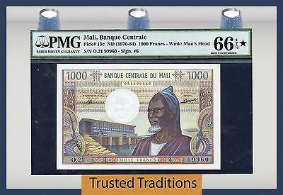 TT PK 13c ND 1970-84 MALI 1,000 FRANCS PMG 66 EPQ GEM NONE GRADED FINER!