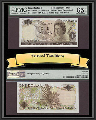 TT PK 163d* 1971-81 NEW ZEALAND 1 DOLLAR QUEEN ELIZABETH II STAR NOTE PMG 65 EPQ