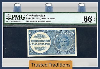 TT PK 58a 1946 CZECHOSLOVAKIA 1 KORUNA PMG 66 EPQ GEM POP ONE FINEST KNOWN!