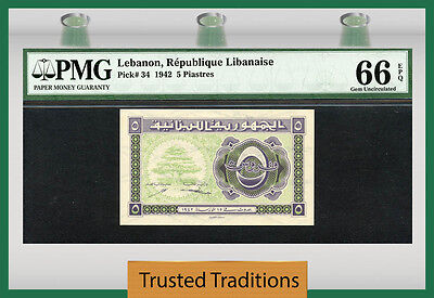 Tt Pk 34 1942 Lebanon 5 Piastres Pmg 66 Epq Gem Uncirculated None Finer