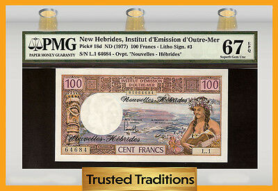 TT PK 18d 1977 NEW HEBRIDES 100 FRANCS PMG 67 EPQ SUPERB GEM!