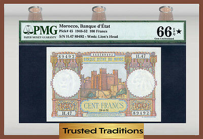 Tt Pk 45 1948-52 Morocco 100 Francs Pmg 66 Epq Star Note Gem Uncirculated!