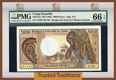 TT PK 6a 1984 CONGO REPUBLIC 5000 FRANCS PMG 66 EPQ GEM UNCIRCULATED