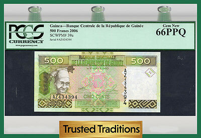"TT PK 39a 2006 GUINEA 500 FRANCS ""1 OF 2 SEQUENTIAL SERIAL NUMBER"" PCGS 66 PPQ!"