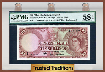 TT PK 52c 1962 FIJI/BRITISH ADMINISTRATION 10/- SHILLINGS PMG 58 EPQ NONE FINER!