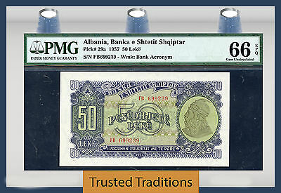 "TT PK 29a 1957 ALBANIA 50 LEKE ""POPULATION ONE"" PMG 66 EPQ GEM UNCIRCULATED"