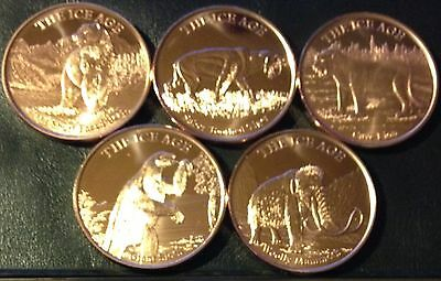 Set Of 5 Different .999 Fine 1 Ounce Copper Rounds - Ice Age Mammals