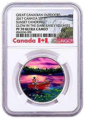 2017 Canada Outdoors Canoeing Glow in the Dark 3/4oz Silver NGC PF70 ER SKU47051