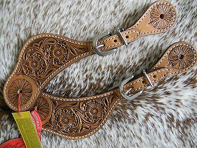 PAIR of Floral Tooled Design Leather Ladies Western Spur Straps New
